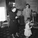 Dutch Princess Marijke Offers The Smallest Bell To Her Mother Queen Juliana,  In Presence Of Rob Veenstra, Whose Father Died In WW II – 14 February 1952 [National Archive, The Hague]